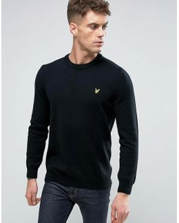 Crew Knit Sweater Lambswool Eagle Logo In Black