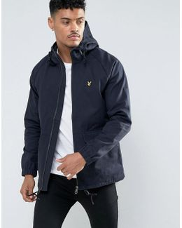 Cotton Parka Jacket Eagle Logo In Navy