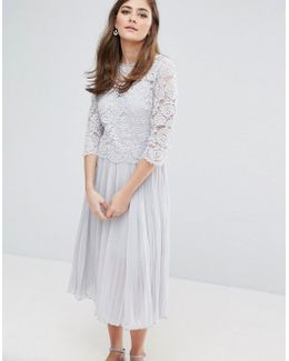 Lace Pleated Midi Dress