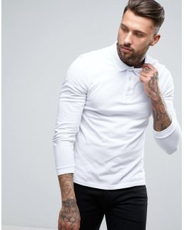 Long Sleeve Pique Polo Regular Fit Eagle Logo In White