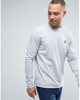 Long Sleeve Top Regular Fit Eagle Logo In Gray Marl