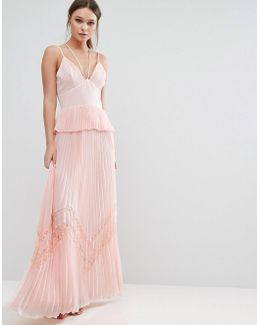Pleated Strappy Maxi Dress