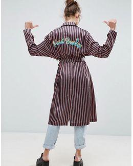 Kimono In Stripe With Heartbreaker Embroidery