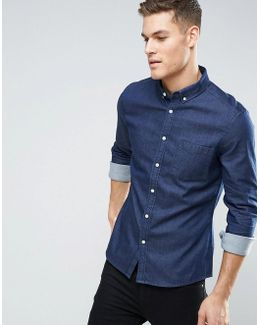 Stretch Slim Denim Shirt Rinse Wash