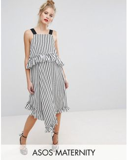 Midi Dress With Ruffle Detail And Grosgrain Straps In Mono Stripe