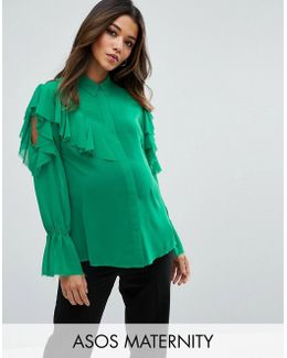 Deconstructed Ruffle Cold Shoulder Blouse