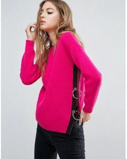 Sweater With Side Split And Ring Detail