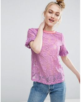 T-shirt In Lace With Ruffle Sleeve And Stripe Tipping
