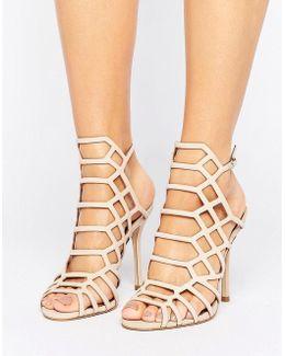 Slithur Blush Caged Heeled Sandals