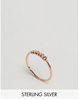 Rose Gold Plated Sterling Silver Xoxo Ring