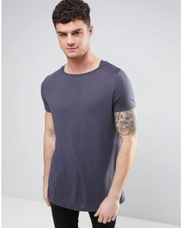 Longline T-shirt In Textured Fabric With Boat Neck