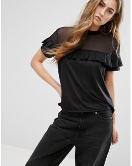 T-shirt With Mesh Panel And Ruffle Layer