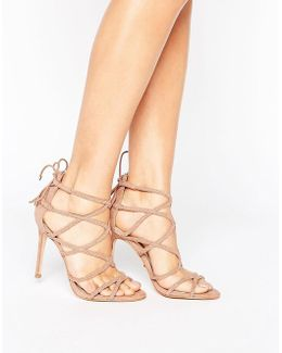 Plaited Strappy Heeled Sandal