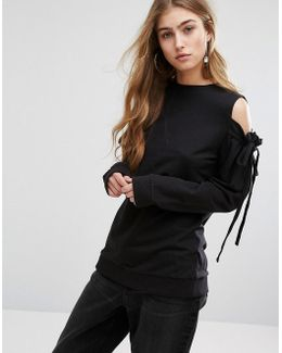 Cold Shoulder Top With Tie Sleeve Details