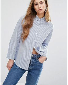 Relaxed Boyfriend Shirt In Pinstripe