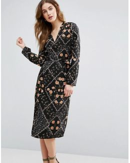 Wrap Front Midi Dress In Floral Print