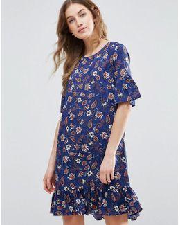 Drop Hem Shift Dress With Frill Sleeve