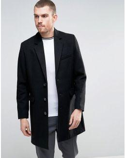 Wool Mix Overcoat In Black