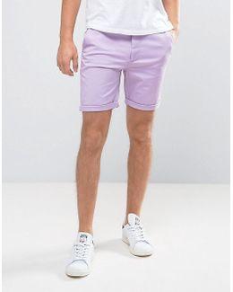 Slim Chino Shorts In Light Purple