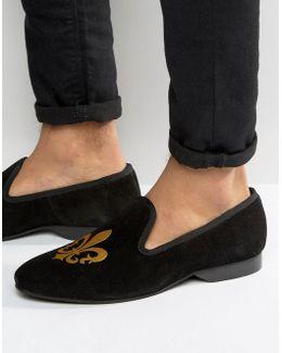 Slipper Loafers Black Suede