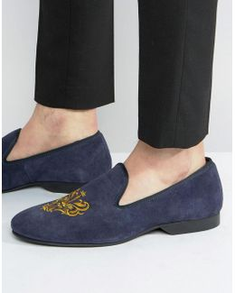 Slipper Loafers Navy Suede