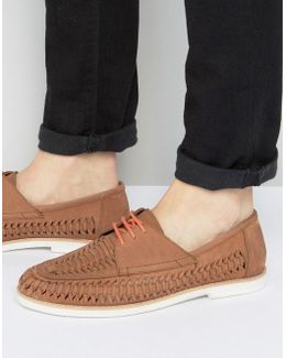 Woven Boat Shoes In Tan