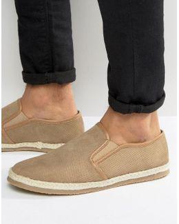 Slip On Espadrilles Shoes Beige Suede