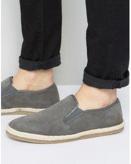 Slip On Espadrilles Shoes Grey Suede