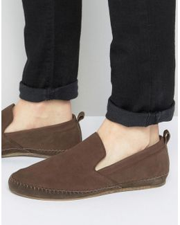 Slip On Espadrilles Shoes In Brown Leather