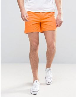 Slim Chino Shorts In Bright Orange