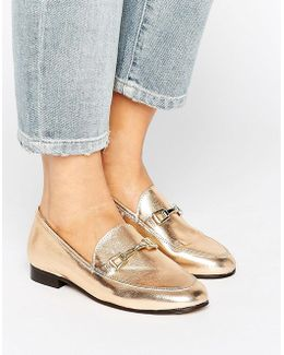 Loss Gold Leather Loafers