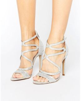 Gayla Silver Strappy Heeled Sandals