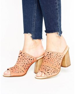 Kayla Nude Suede Cut Out Heeled Mules