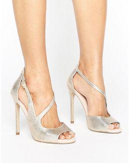 Geep Metallic Asymetric Strap Heeled Sandals