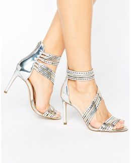 Girl Silver Leather Strappy Heeled Sandals