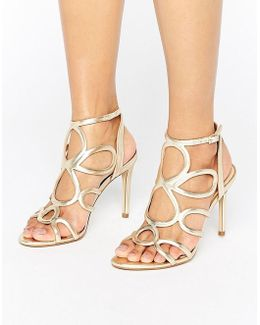 Gabby Gold Leather Heeled Sandals