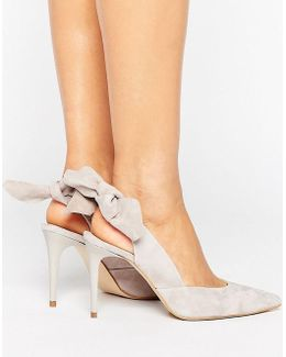 Ava Gray Suede Bow Sling Heeled Shoes