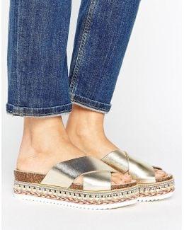 Kake Gold Leather Espadrille Flatform Slide Sandals