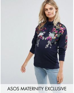 Print And Embellished Sweat Top