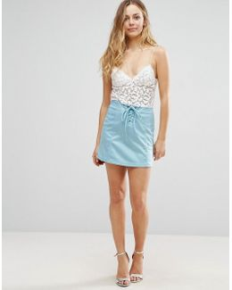 Faux Suede Lace Up Front Mini Skirt