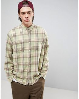 Oversized Check Shirt In Mint