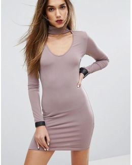 Bodycon Dress With Choker Detail