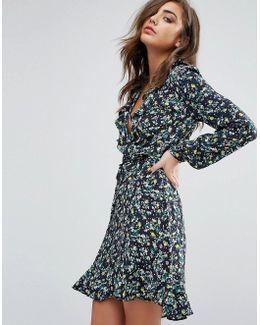 Ruffle Cold Shoulder Floral Dress