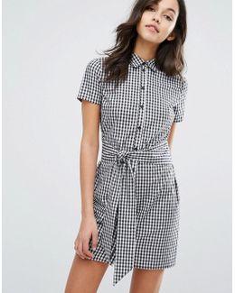 Gingham Tie Front Shirt Dress