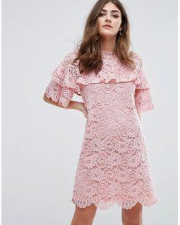Ruffle Lace Shift Dress