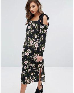 Floral Cold Shoulder Midi Dress