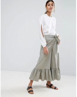 High Waisted Wide Leg Pants With Frill Hem And Tie Waist