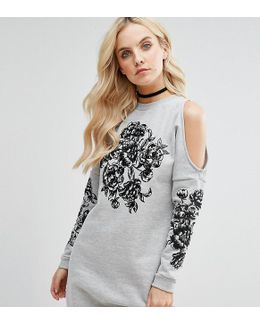 Cold Shoulder Embroidered Sweater Dress