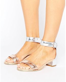 Ruz Metallic Mid Heeled Sandals