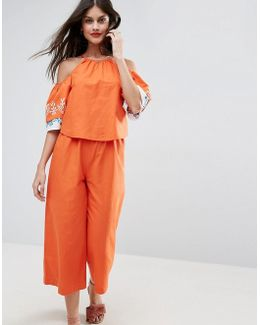 Cold Shoulder Cotton Jumpsuit With Embroidery